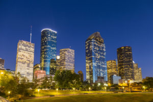 View on downtown Houston by night with skyscraper